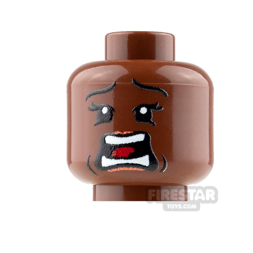 Custom Mini Figure Heads - Terrified - Female - Reddish Brown