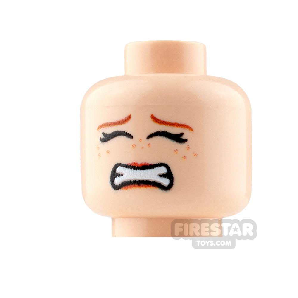 Custom Mini Figure Heads - Scared - Female - Light Flesh
