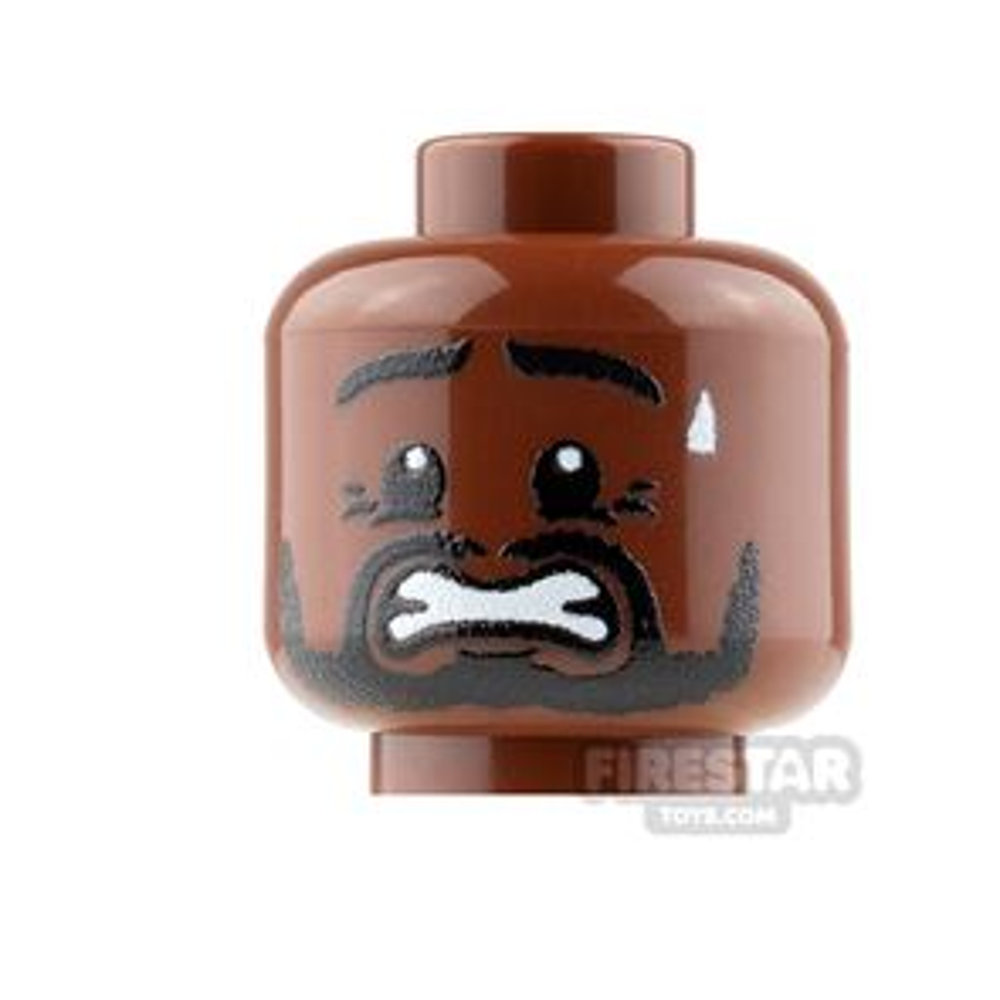 Custom Mini Figure Heads - Scared with Beard - Reddish Brown