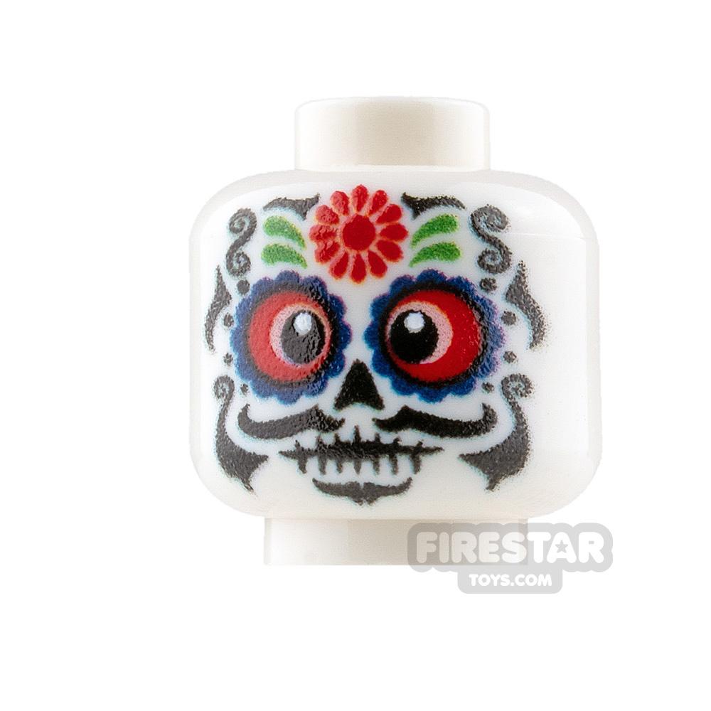 Custom Minifigure Heads - Day Of The Dead Sugar Skull - Male 2