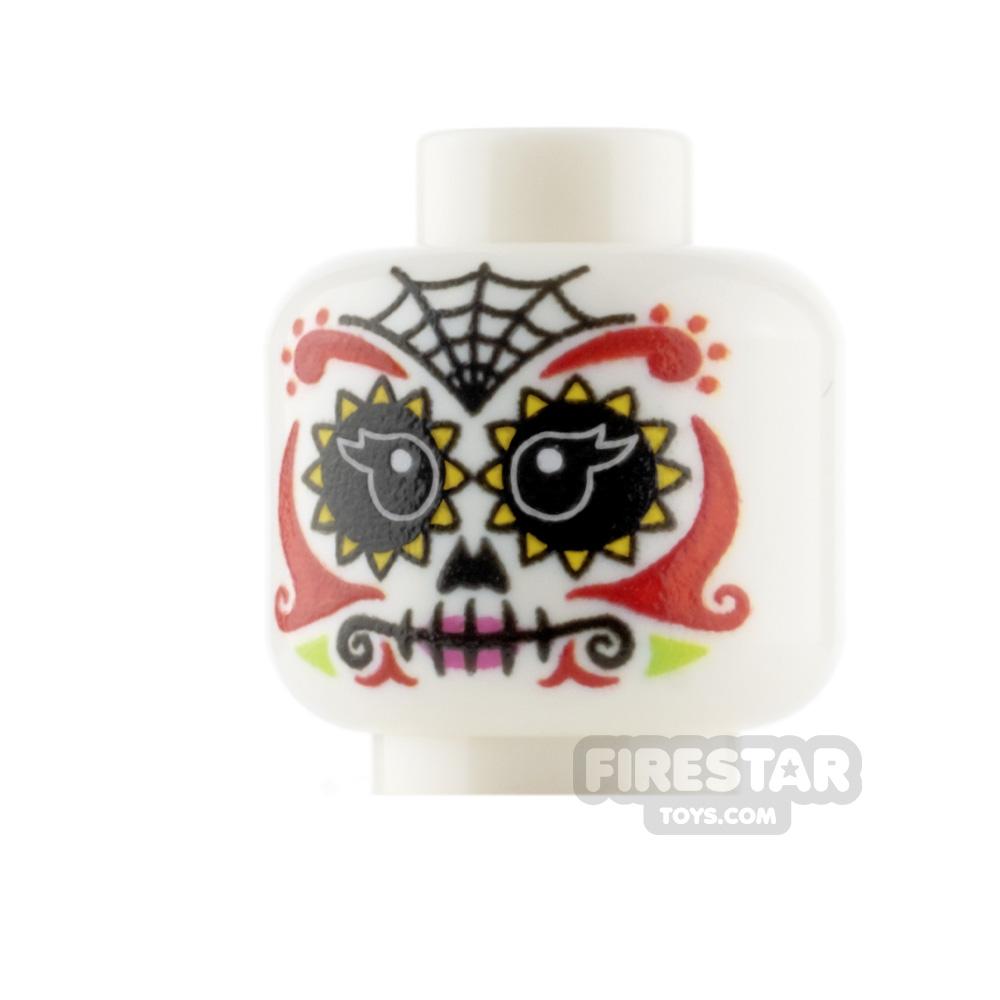 Custom Minifigure Heads - Day Of The Dead Sugar Skull - Female 2
