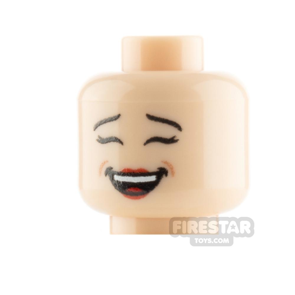 Custom Mini Figure Heads - Laughing - Light Flesh