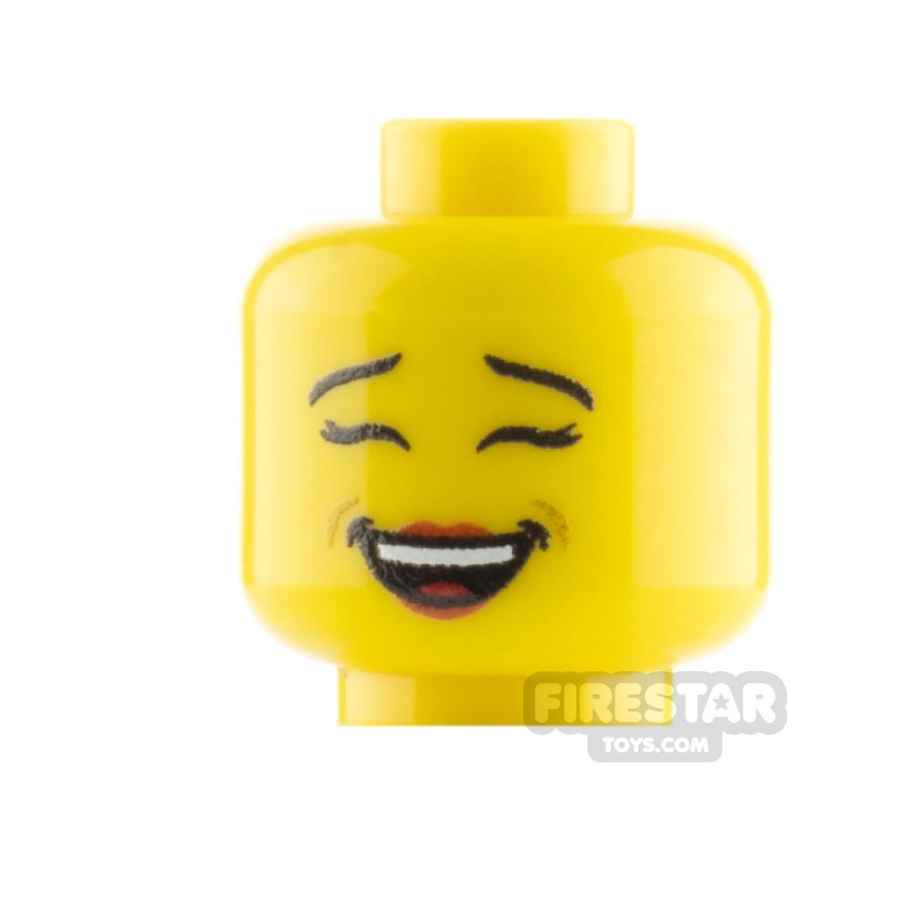 Custom Mini Figure Heads - Laughing - Yellow