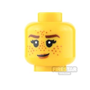 Custom Minifigure Heads - Female with Heavy Freckles - Yellow