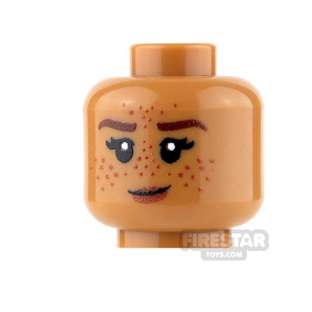 Custom Minifigure Heads - Female with Heavy Freckles - Medium Dark Flesh