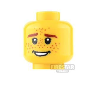 Custom Minifigure Heads - Male with Heavy Freckles - Yellow