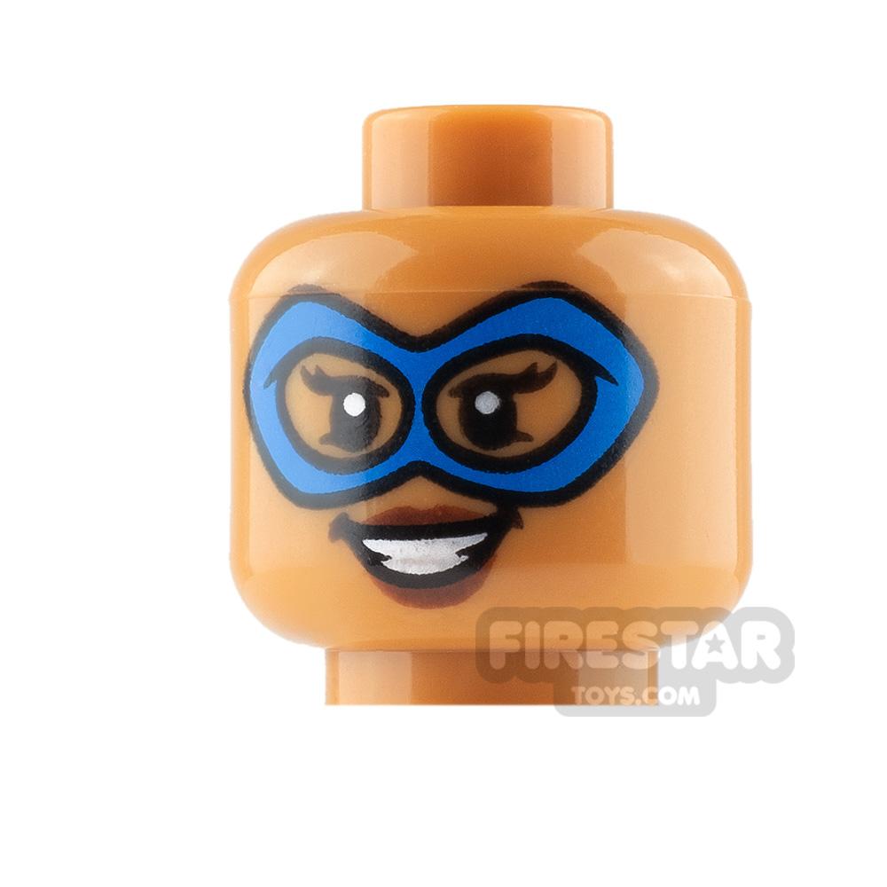 LEGO Mini Figure Heads - Blue Mask - Smile and Determined
