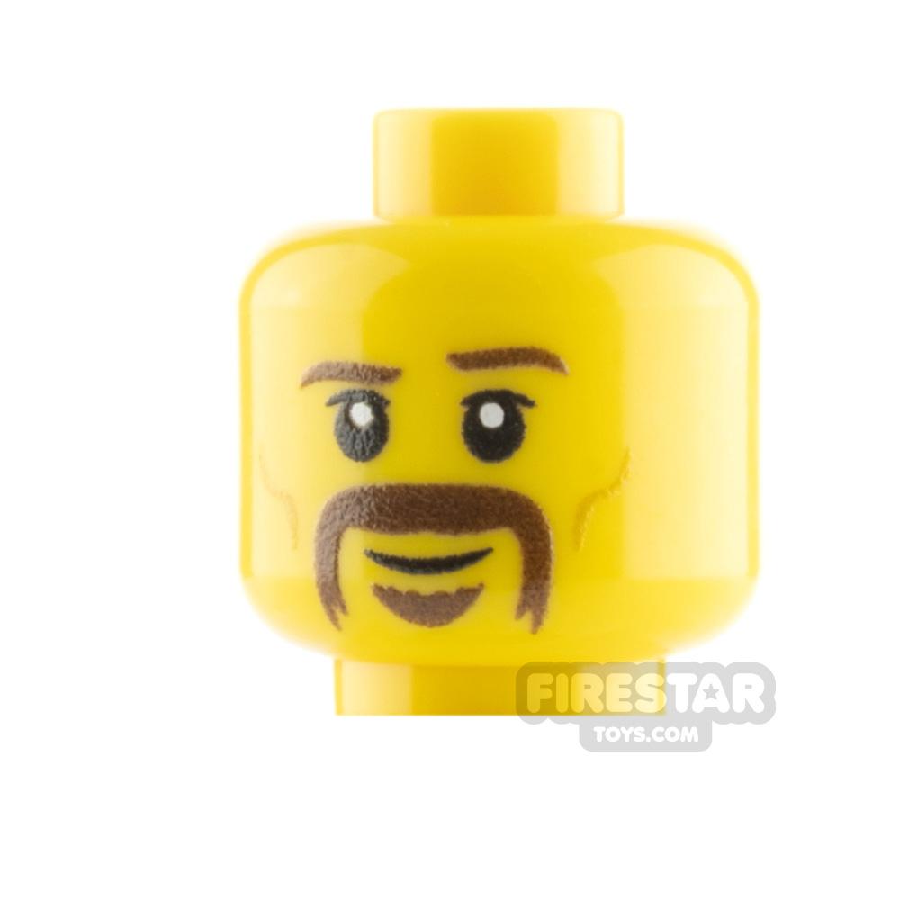Custom Mini Figure Heads - Handlebar Moustache - Yellow