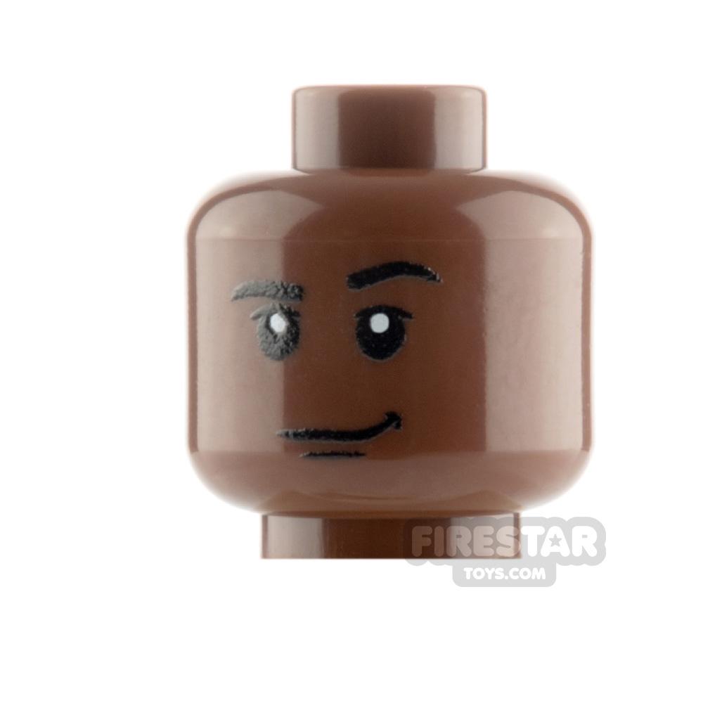 Custom Mini Figure Heads - Smirk - Reddish Brown