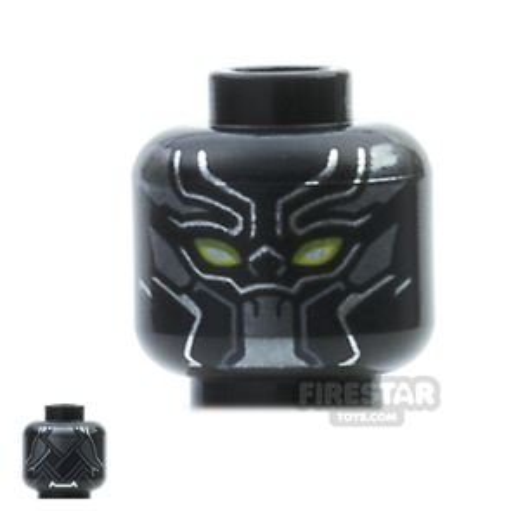 LEGO Mini Figure Heads - Black Panther - Yellow Eyes