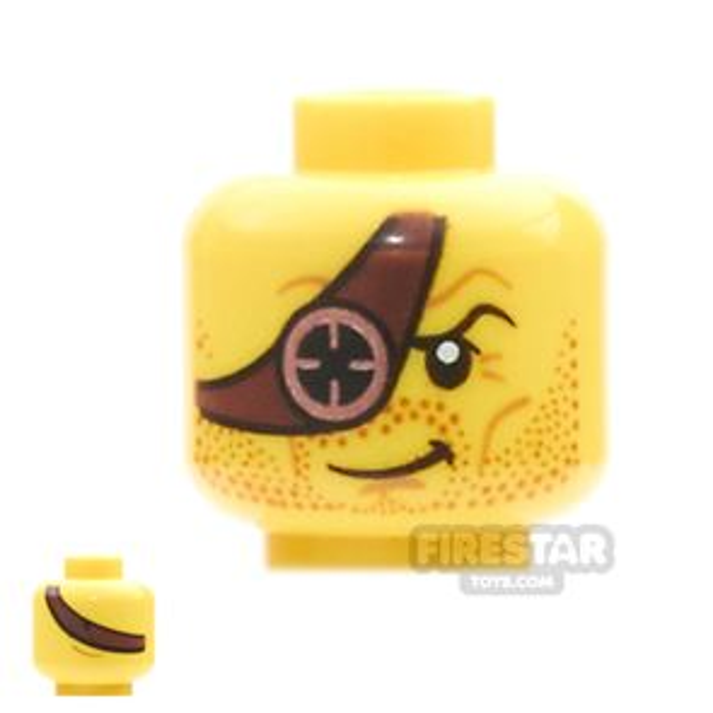 LEGO Mini Figure Heads - Ninjago - Reddish Brown Eyepatch with Copper Eyepiece