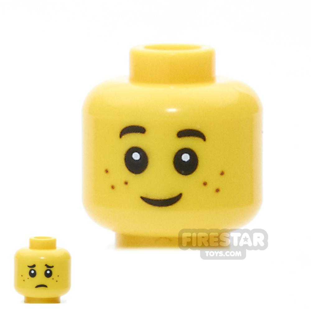 LEGO Mini Figure Heads - Freckles, Smile / Worried Pattern