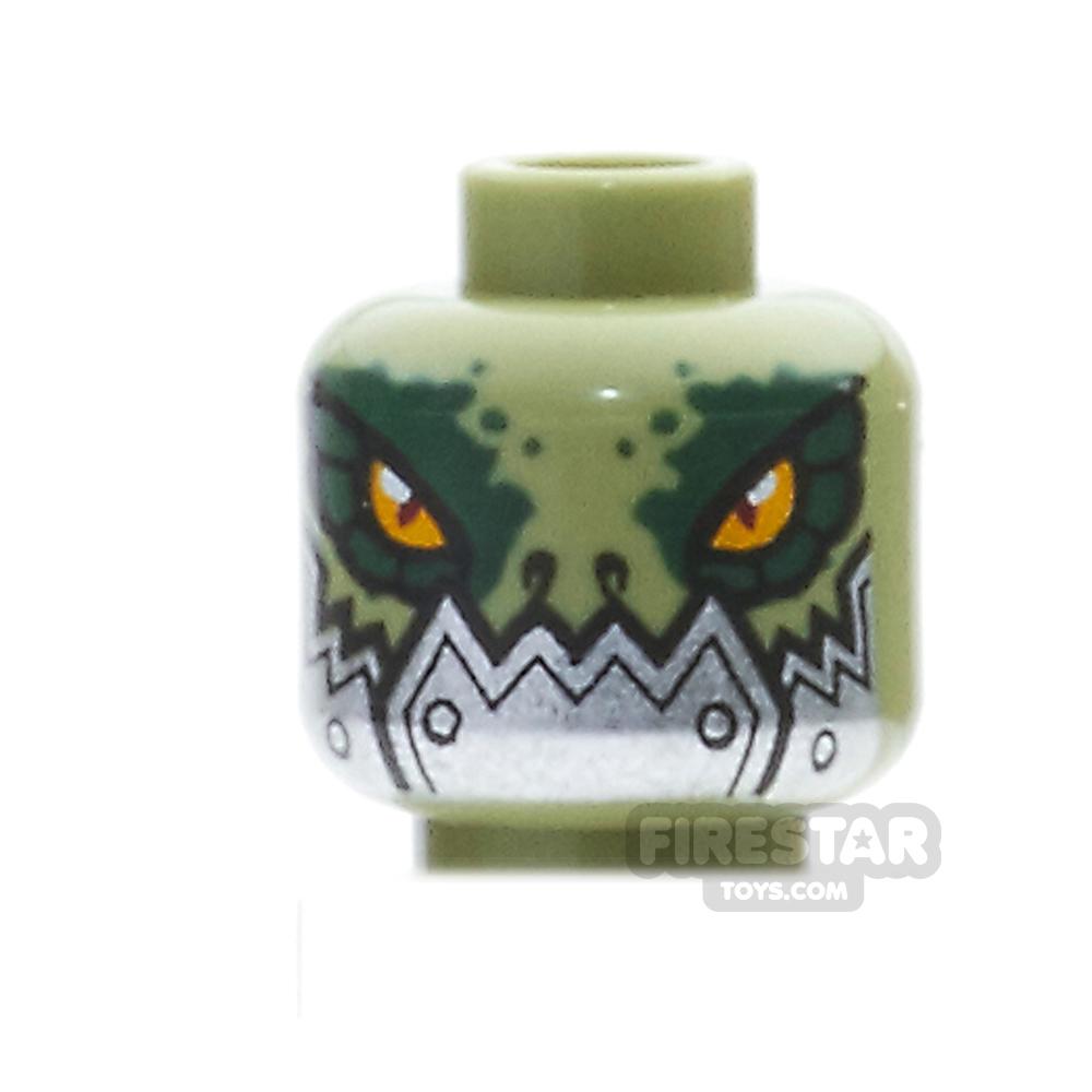 LEGO Mini Figure Heads - Crocodile with Metallic Silver Plates - Olive Green
