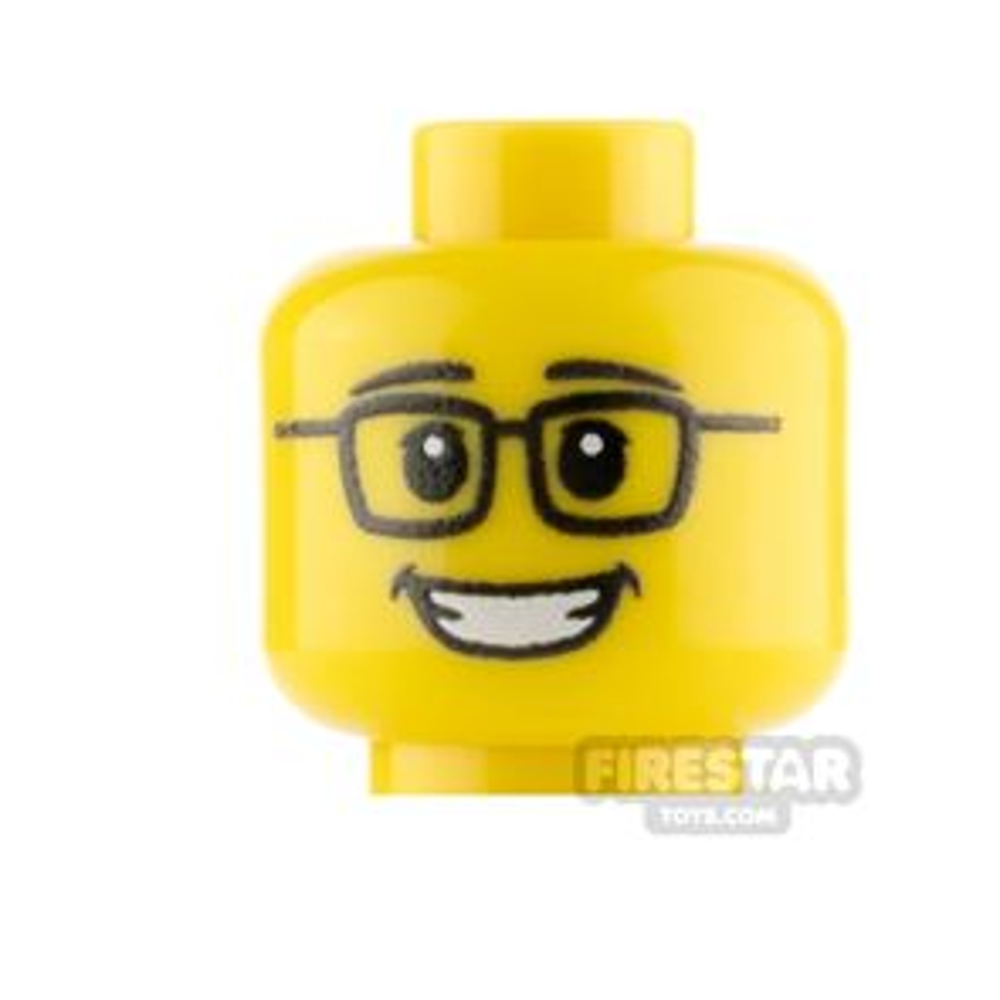 Custom Mini Figure Heads Smile With Glasses Male