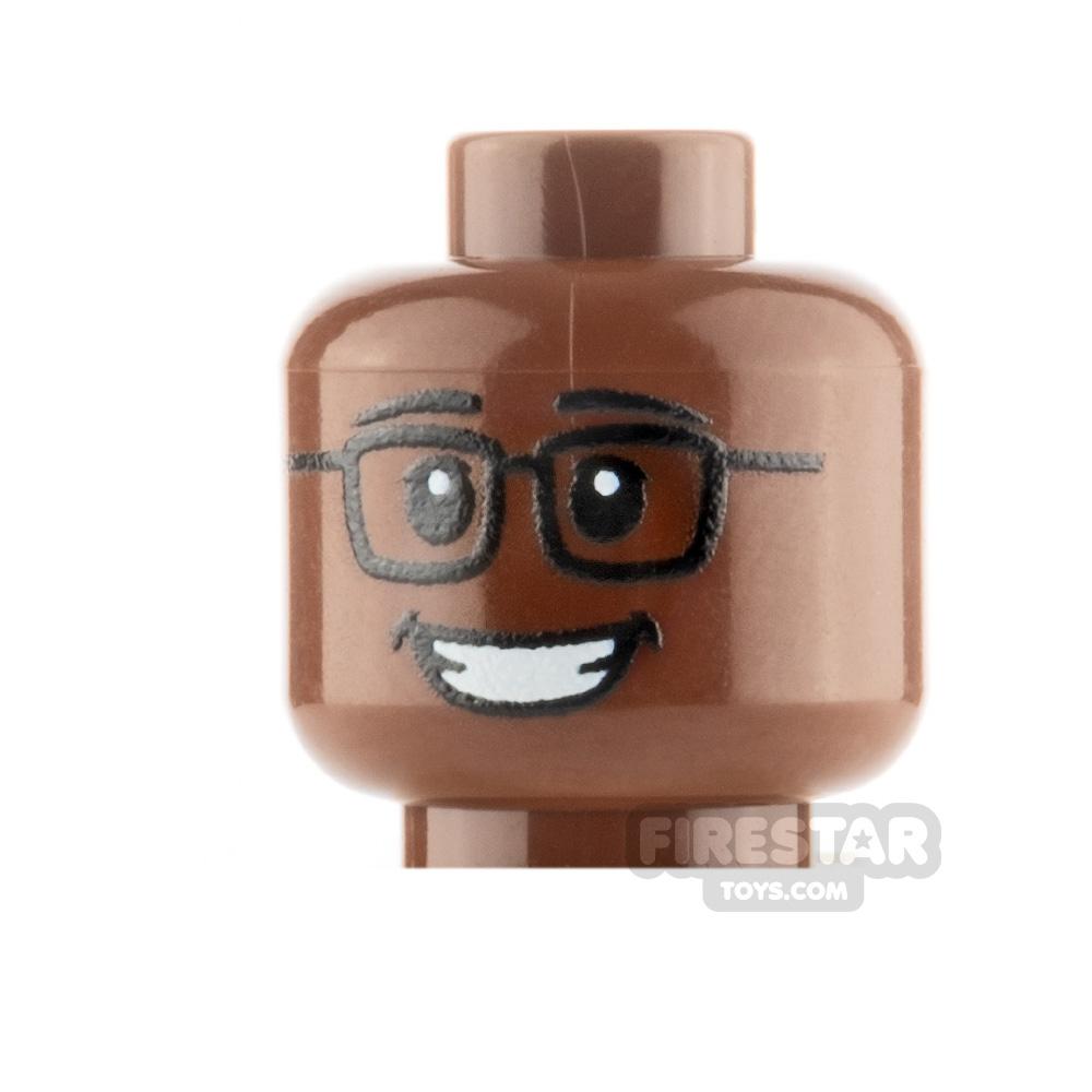 Custom Mini Figure Heads - Grin With Glasses - Reddish Brown