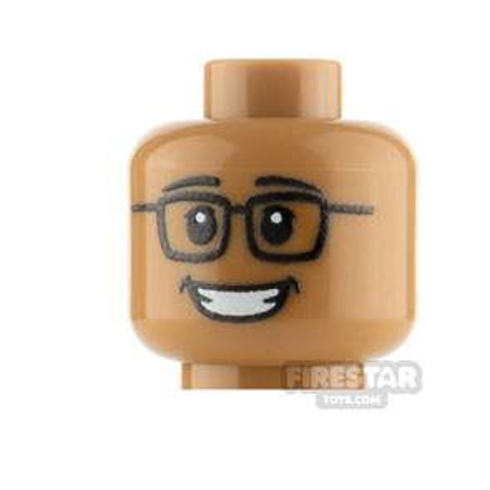 Custom Mini Figure Heads - Grin With Glasses - Medium Dark Flesh