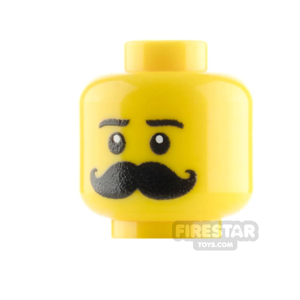 Custom Mini Figure Heads - Handle Bar Moustache - Yellow