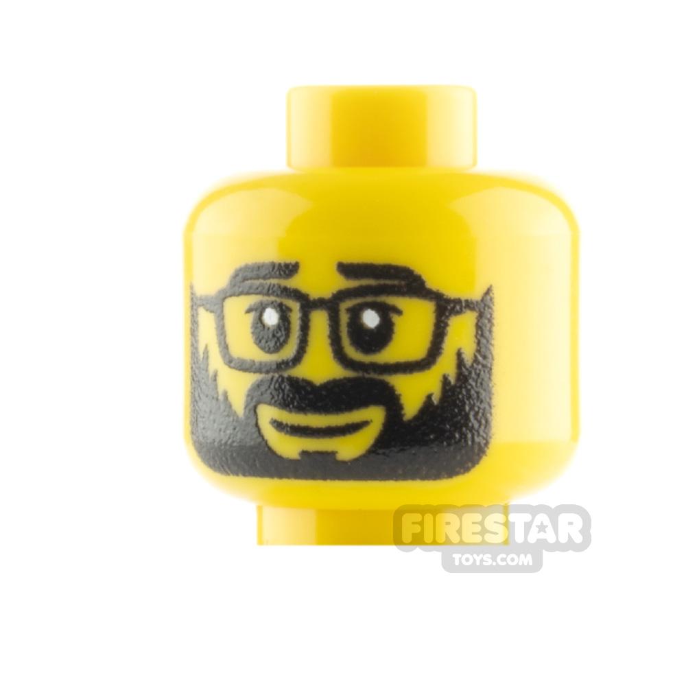 Custom Mini Figure Heads - Beard With Glasses - Yellow