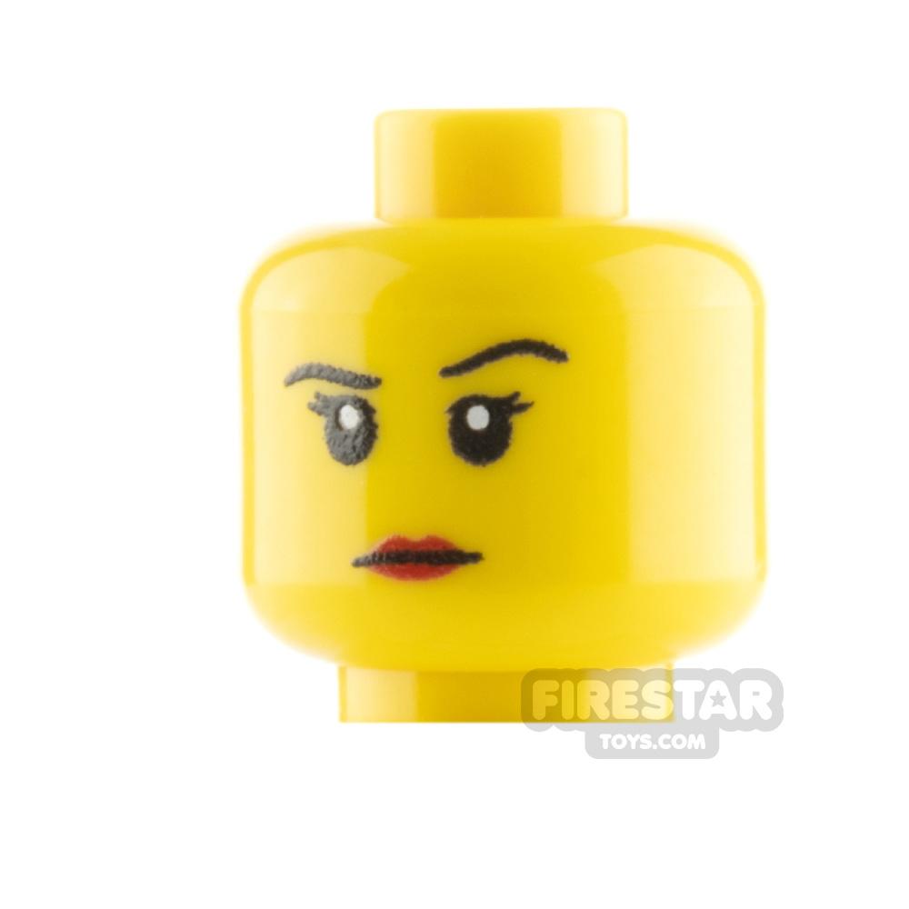 Custom Mini Figure Heads - Female, stern  - Yellow