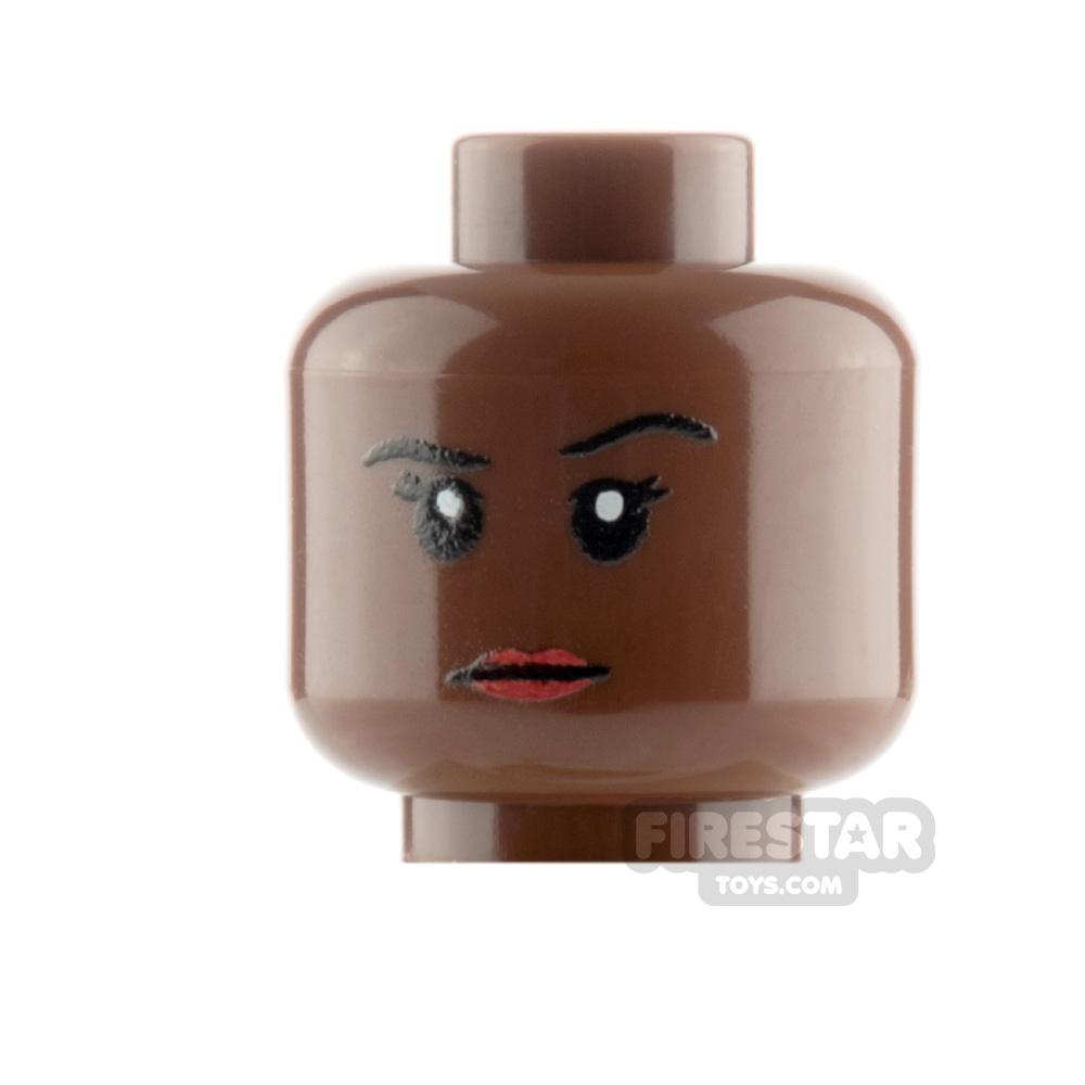 Custom Mini Figure Heads - Stern Female - Reddish Brown