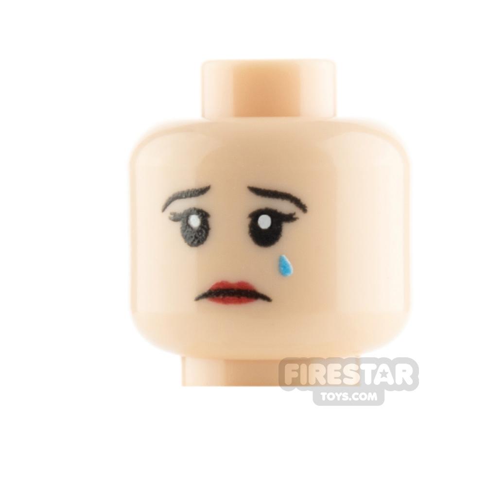 Custom Mini Figure Heads - Crying Female - Light Flesh