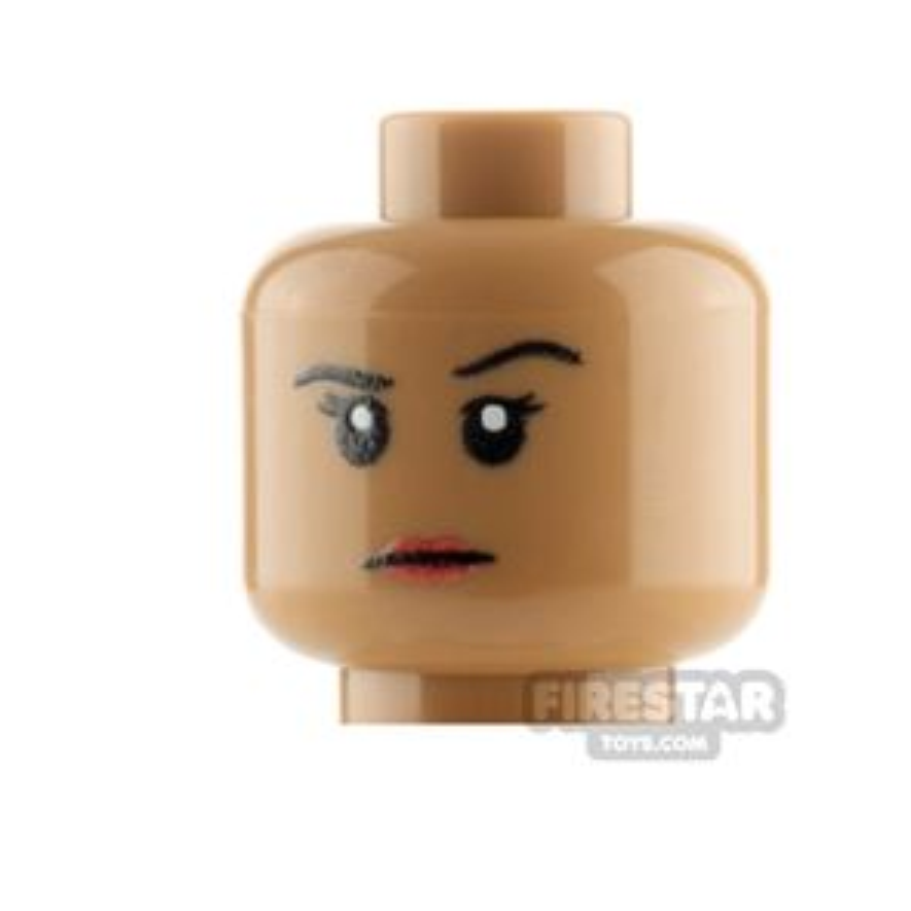 Custom Mini Figure Heads - Stern Female - Medium Dark Flesh