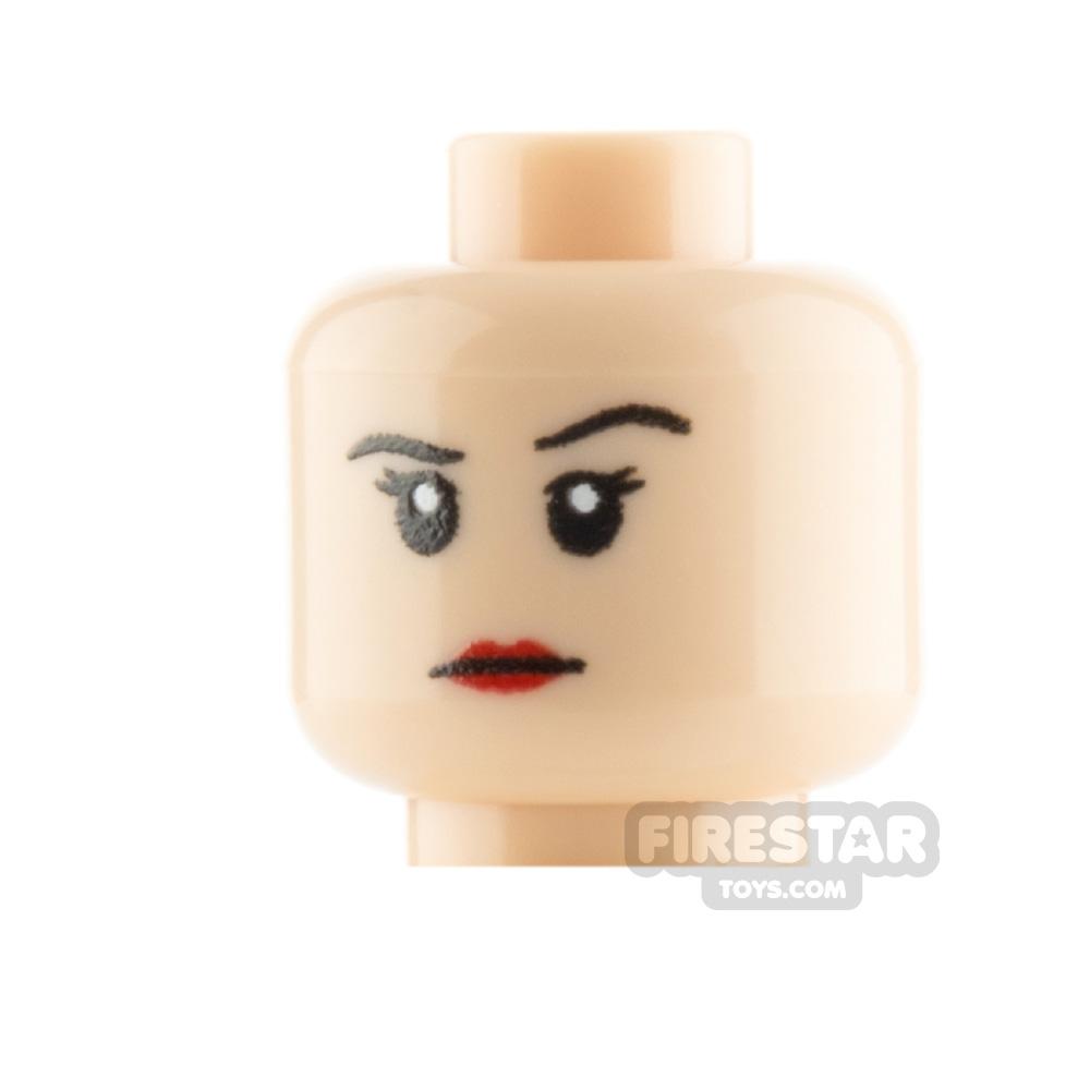 Custom Mini Figure Heads - Stern Female - Light Flesh