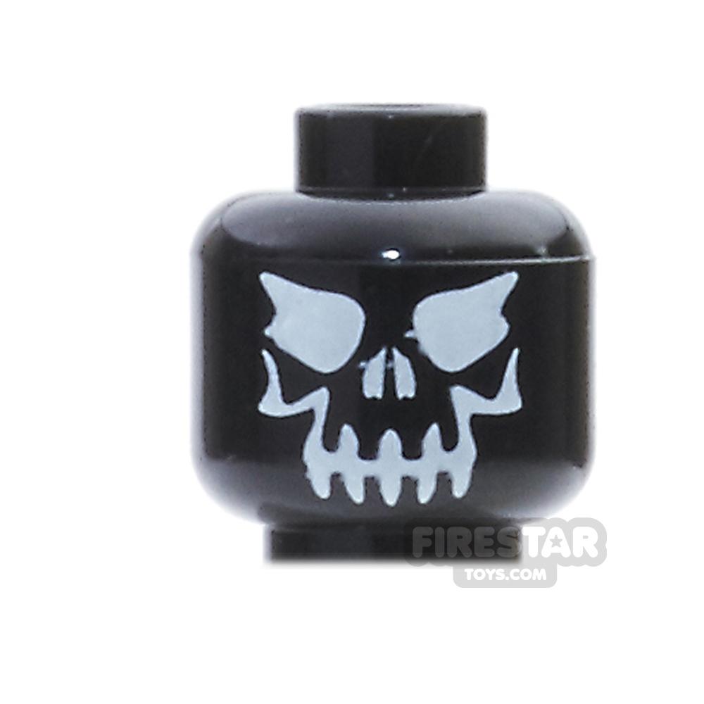 LEGO Mini Figure Heads - Evil Black Skull - White Eyes