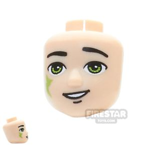 LEGO Elves Mini Figure Heads -  Lime Eyes and Tribal Pattern