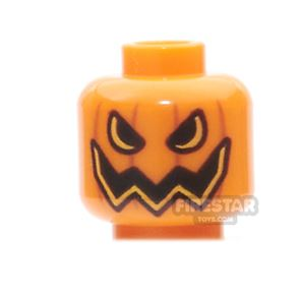 LEGO Mini Figure Heads - Evil Pumpkin - Black and Yellow Eyes