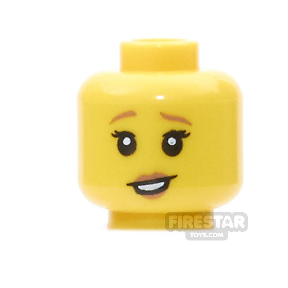 LEGO Mini Figure Heads - Raised Eyebrow and Dark Orange Lips
