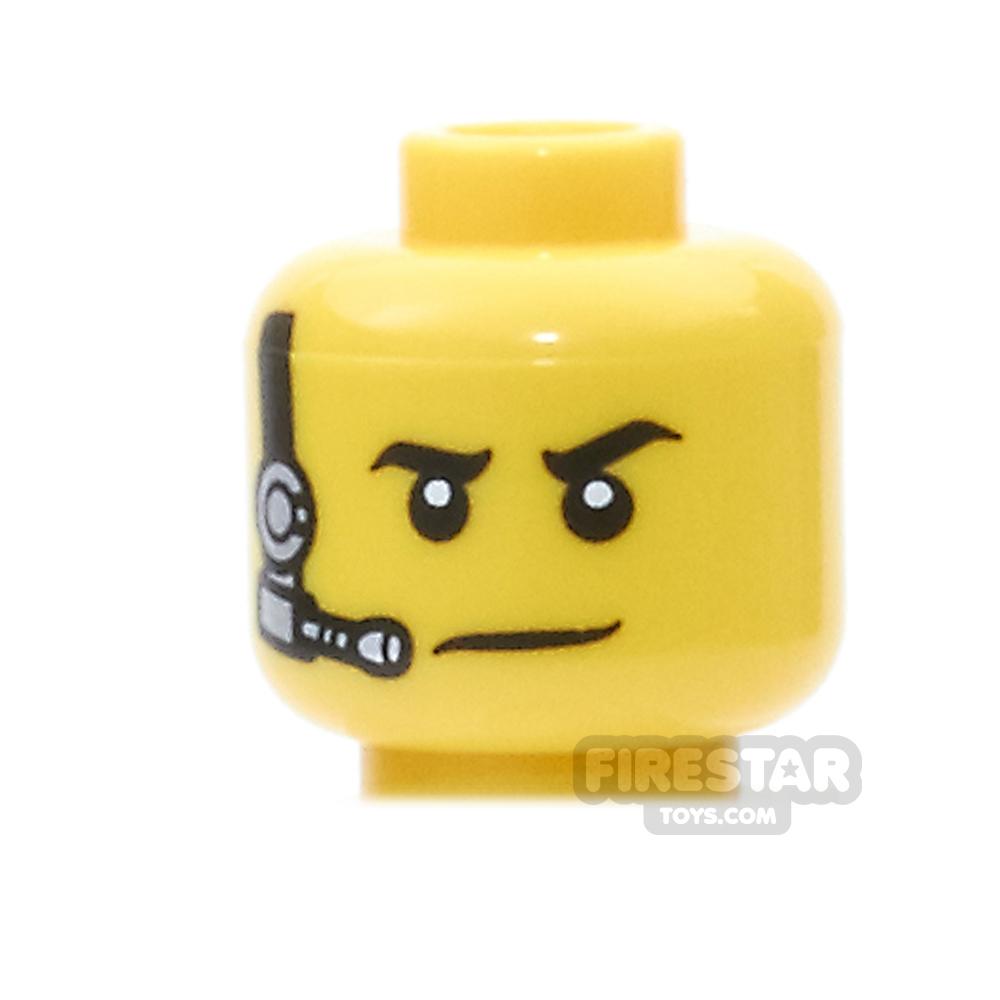 LEGO Mini Figure Heads - Black and Silver Headset