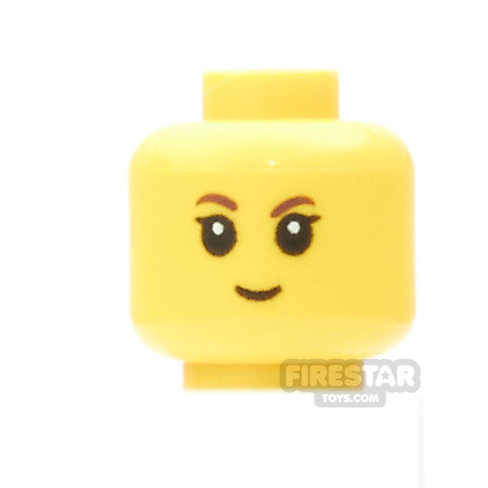 LEGO Mini Figure Heads - Black Eyelashes and Small Smile