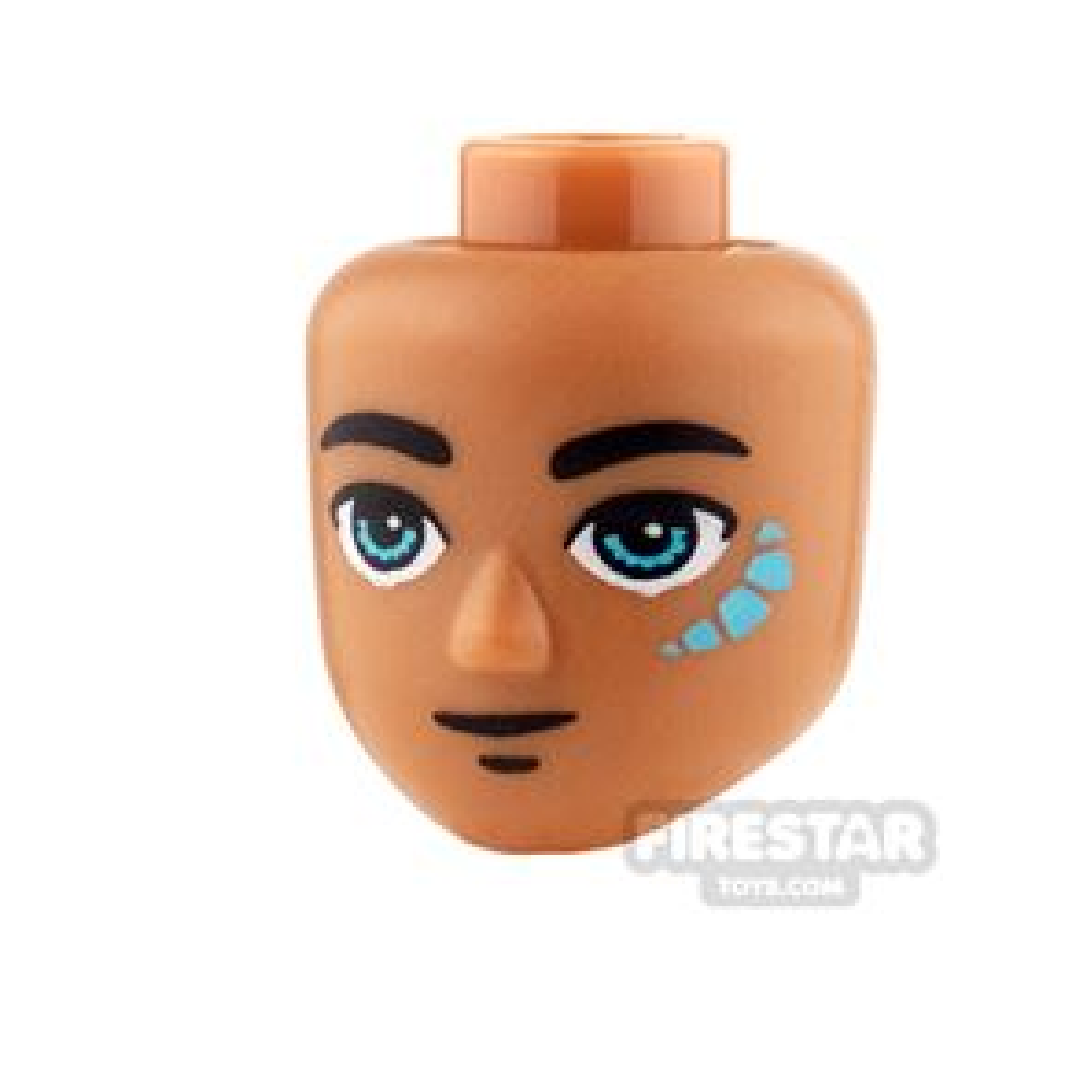 LEGO Elves Mini Figure Heads -  Dark Azure Eyes and Tribal Pattern