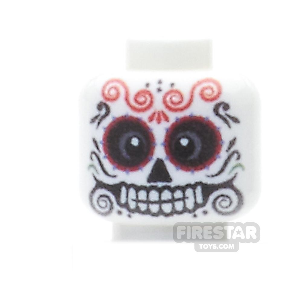 Custom Minifigure Heads - Day Of The Dead Sugar Skull - Male