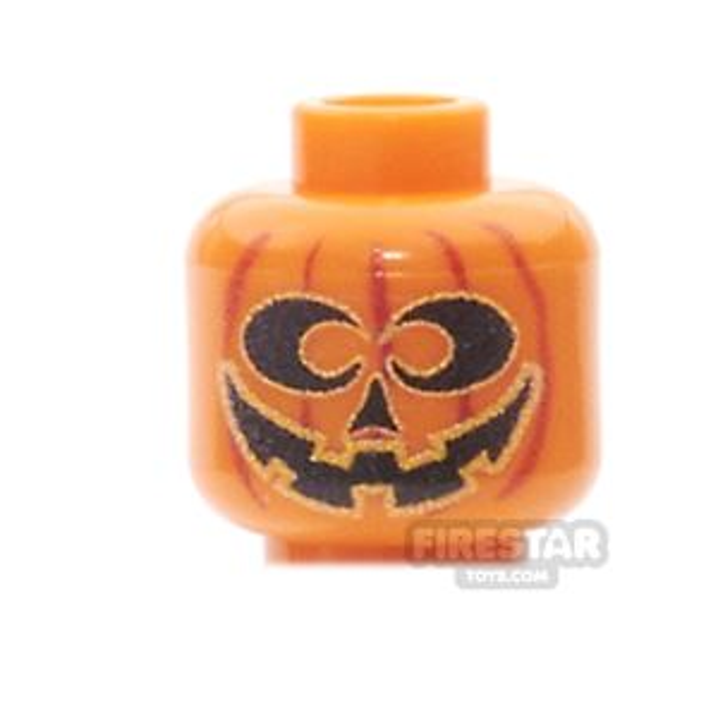 Custom Minifigure Heads - Pumpkin Head - Silly