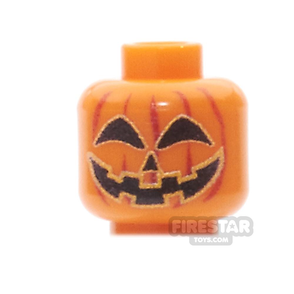Custom Minifigure Heads - Pumpkin Head - Happy