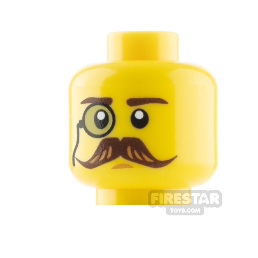 Custom Minifigure Heads - Moustache and Monocle - Yellow