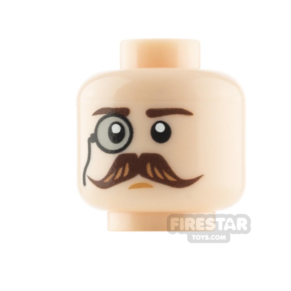 Custom Minifigure Heads - Moustache and Monocle - Light Flesh