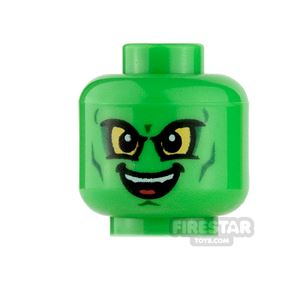 LEGO Mini Figure Heads - Green Goblin - Open Smile/Frown with Fang