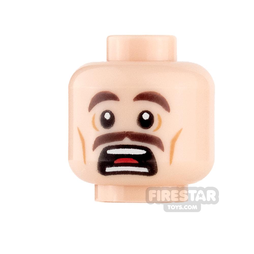 LEGO Mini Figure Heads - Scared with Moustache