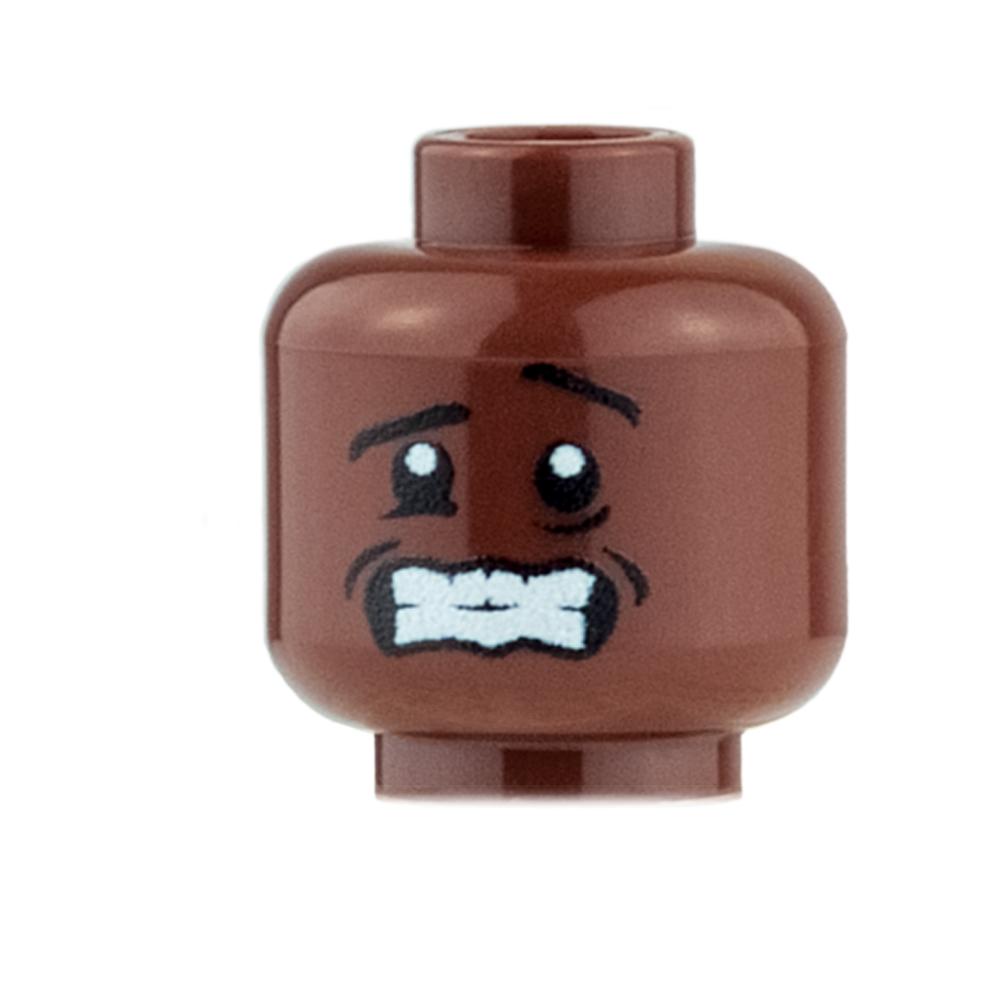 Custom Minifigure Heads - Shivering - Reddish Brown