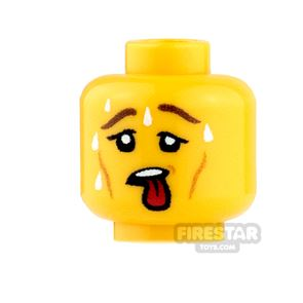 Custom Minifigure Heads - Sweating - Male - Yellow