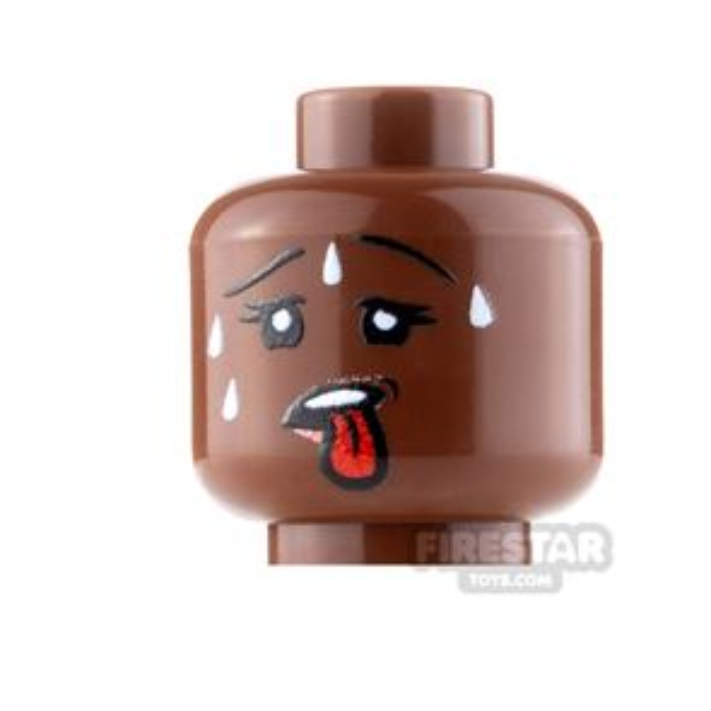 Custom Minifigure Heads - Sweating - Female - Reddish Brown
