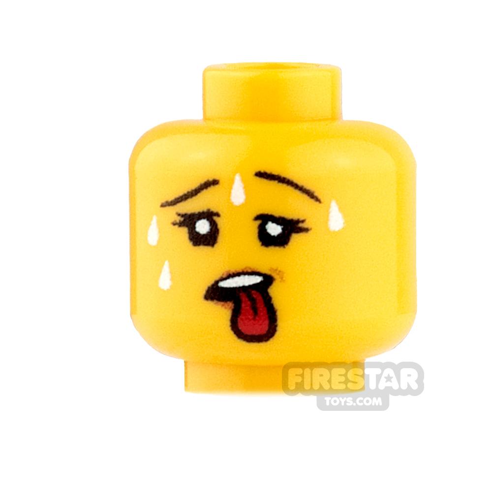 Custom Minifigure Heads - Sweating - Female - Yellow