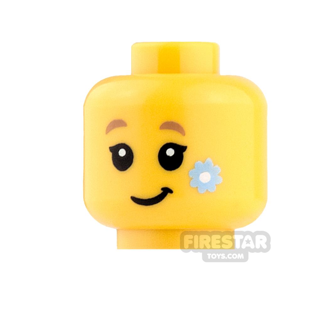 LEGO Mini Figure Heads - Lopsided Grin, Blue Flower on Cheek