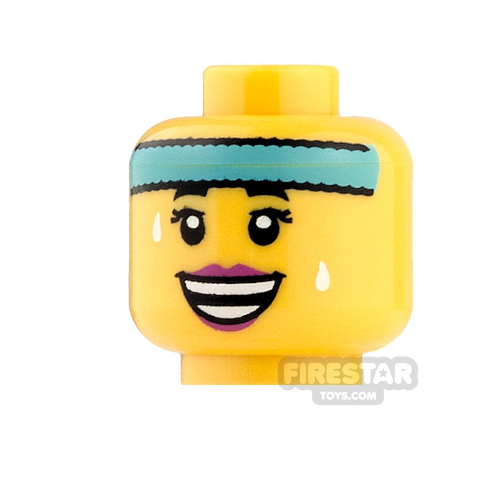 LEGO Mini Figure Heads - Blue Headband, Sweat drops and Open Smile