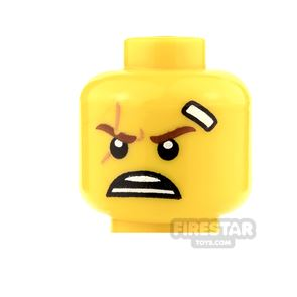 LEGO Mini Figure Heads - White Bandage and Open Mouth Scowl