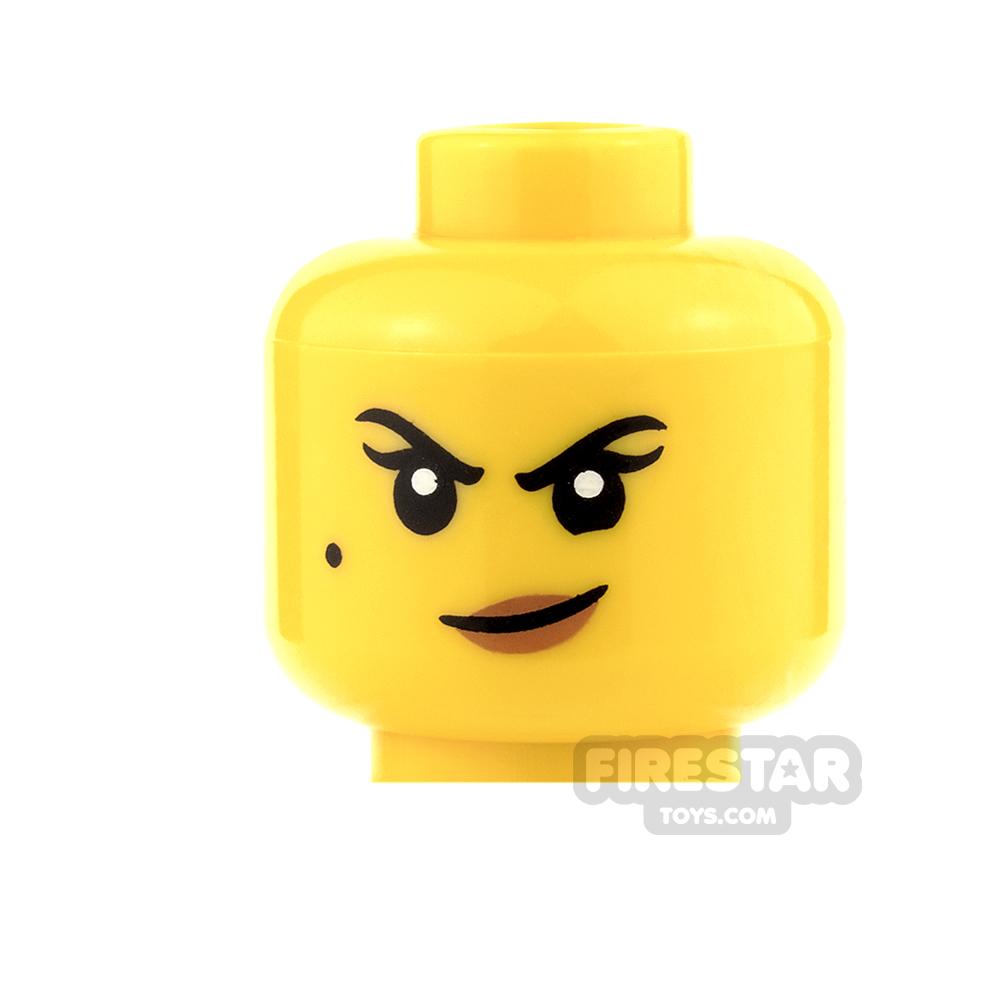 LEGO Mini Figure Heads - Beauty Mark and Crooked Smirk