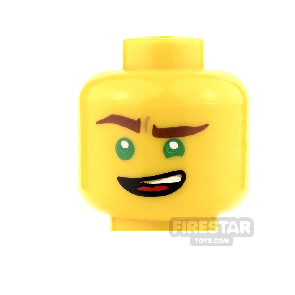 LEGO Mini Figure Heads - Green Eyes and Lopsided Grin